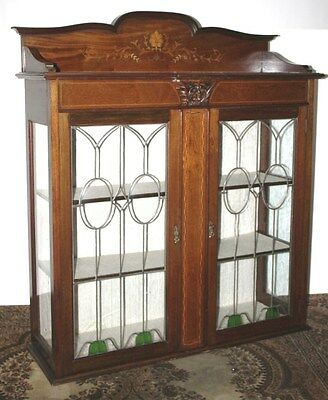 Antique Edwardian Inlaid Mahogany Display Cabinet - FREE DELIVERY [PL743]