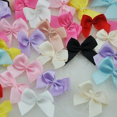 Mini Satin Ribbon Flowers Bows Gift Craft Wedding Decoration ornament 30pc A0176