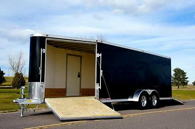 ALUMINUM ATC 7 X 24 Enclosed Snowmobile Trailer: Screwless, LED, 2 Ramps, Wheels