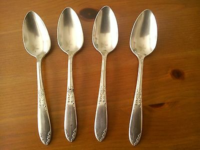 Set of 4 Art Nouveau King Edward National Silver Coffee or Tea Cup Spoons