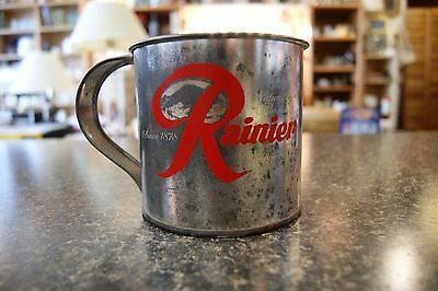Rainier beer large tin cup-Naturally brewed,mountain fresh beer since 1878