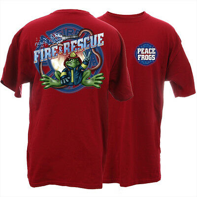 Peace Frogs Firefighter Fireman Adult Large T-Shirt