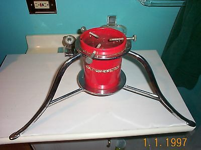 RARE~red enamel~xmas alive tree stand~stainless ft~50's