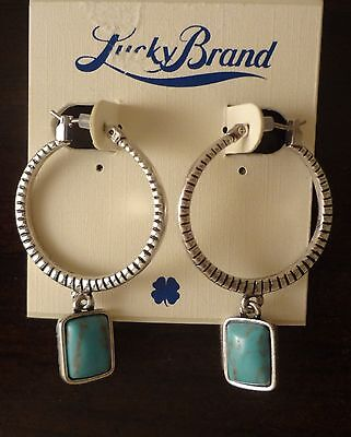 NWT LUCKY BRAND SILVER TONE HOOP WITH TURQUOISE STONE CHARM EARRING