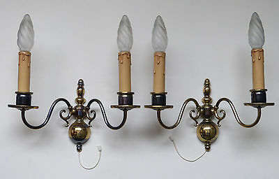 french vintage pair wall lights lamps brass bronze two arms 2 candles sconces
