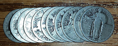 Lot of 11 Silver Standing Liberty Quarters
