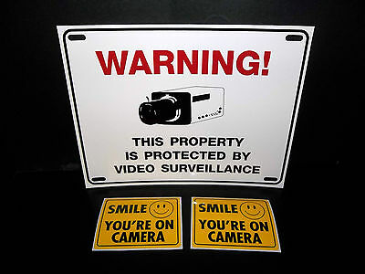 LOT OF WATER PROOF CCTV VIDEO SECURITY CAMERA WARNING SIGN+WINDOW STICKER DECALS