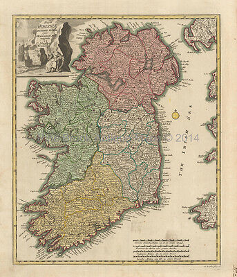 Ireland Antique Map Weigel 1718 Original