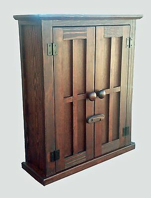 Handmade Custom Rustic British Colonial Pine  Red Oak Stain Wood  Wall Cabinet
