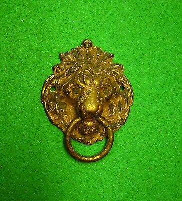 Vintage Large Old Pressed Brass Lions Head Pull     ( #1400-63)