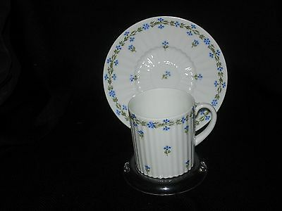 GDA Limoges Demitasse Cup & Saucer White w/ Blue Flowers Near MInt