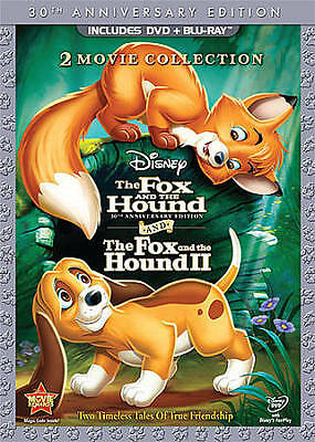 Disney The Fox and the Hound & Fox and the Hound 2 Blu-ray Dvd New w/ Slip Cover