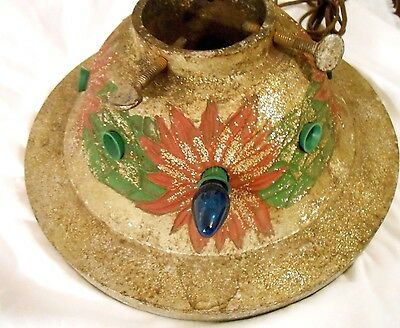 ANTIQUE CHRISTMAS TREE STAND CAST IRON LIGHTED POINSETTIA