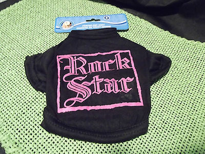 """Black & Hot Pink Printed """"ROCK STAR"""" Knit Doggy Pet T-Shirt-NWT Size Small"""