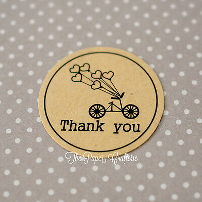 BICYCLE THANK YOU STICKERS Kraft Brown Round Labels Seals Gift Favours 60 pcs