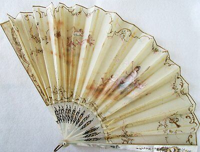 Antique Hand Painted Silk Mother of Pearl Fan Stern Brothers New York As Is