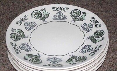 """Four Taylorstone Summer Morn 10 1/2"""" Dinner Plates-Green Chicken/Rooster Pattern"""