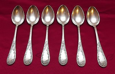 """Set- 6 Vintage Russian USSR Kolchugino Melchior Silver Plate Table Spoons 8 1/8"""""""