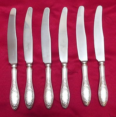 """Set of 6 Vintage Russian USSR Melchior Silver Plate Large Knives - 9 1/2"""""""
