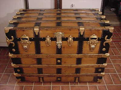 Ladycomet Beautiful Refinished Flat Top Steamer Trunk Antique Chest With Tray