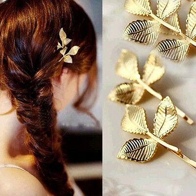 1 PCS Fashion Hairwear Gold Plated 3 leaves Design Hairpin For Girl Ladies' Gift