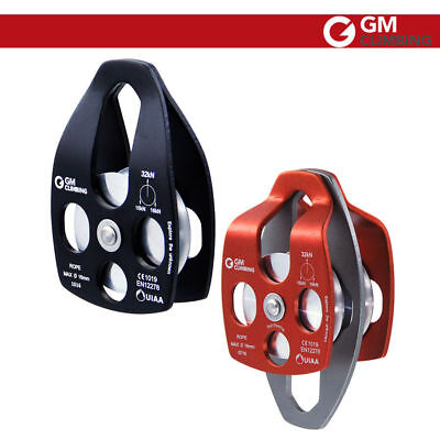 Free Shipping 32KN Large Aluminum&Twin sheave Rope Pulley /7100Lbs for Climbing