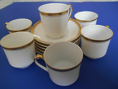 Heinrich H&C  Bavaria 6 White with Gold Trim Demitasse Cups and Saucers Princess