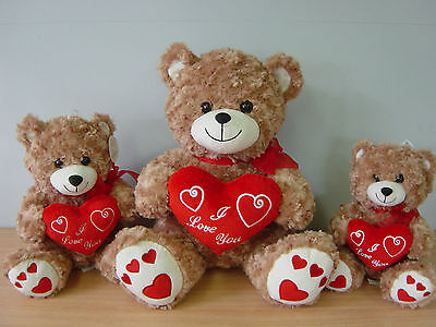 Brown Fluffy Plush 'I Love You' Teddy Bears Valentines Day Gifts Soft Toys
