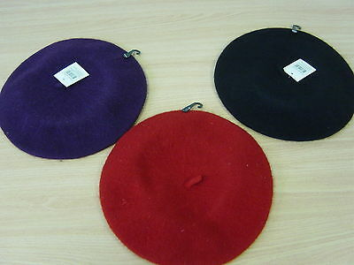 Wool Warm Winter French Beret Newsboy Beanie Cap Hat Red Black Purple- 4 Colours