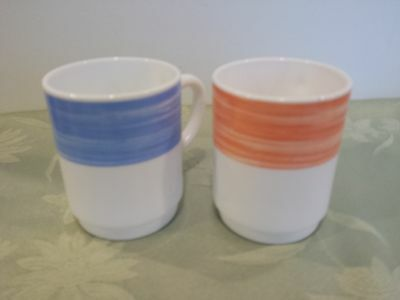 Arcoroc Arcopal White Glass Coffee Tea Mugs Cups Pink and Blue ~ Made in France