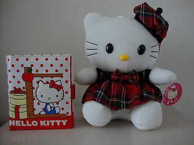 "NEW HELLO KITTY TRIFOLD COIN BAG PURSE WALLET + DRESS HAT RED BOW 7"" PLUSH SET"
