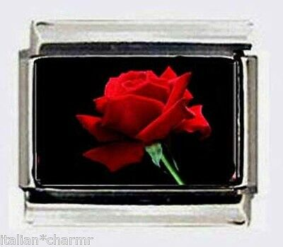 single RED ROSE flower stem 9mm photo Italian charms for nomination bracelets