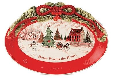 NIB NWT Fitz and Floyd Holiday Sentiment Tray Plate - Home Warms the Heart