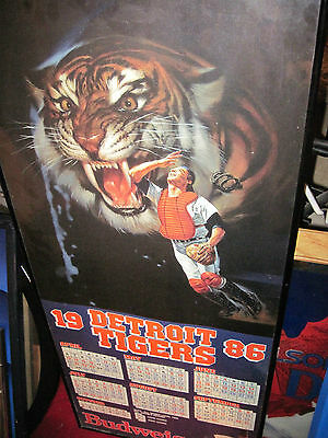 Scarce Vintage 1986 DETROIT TIGERS Budweiser/Bud Promotional Sign w/Schedule