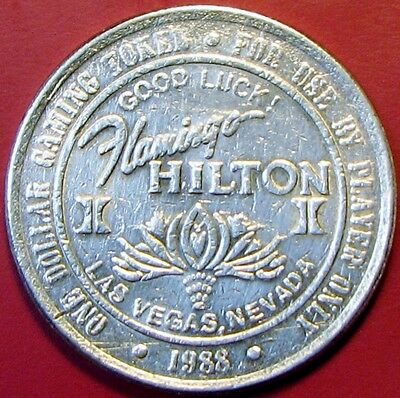 $1 Casino token, Flamingo Hilton, Las Vegas, NV.1988.F30.
