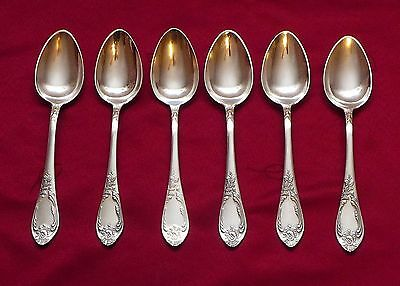 """Set of 6 Vintage Russian USSR Melchior Silver Plate Table Spoons 8 1/4"""""""