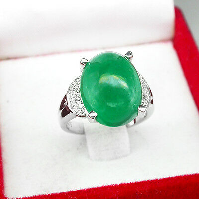 100% GENUINE! TOP EMERALD GREEN AGATE MAIN STONE REAL 925 SILVER RING SIZE 4.75