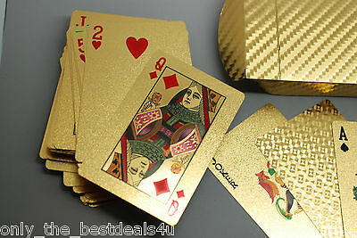 Certified 24k Gold Leaf Plated Poker Casino 52 Playing Cards Full Deck EURO € $$