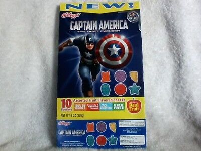 Captain America, The First Avenger Empty Fruit Snacks Box Wi All 10 Pouches VF
