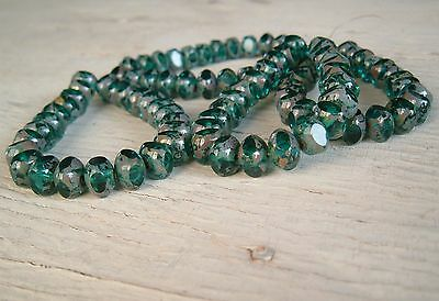 50 beads CZECH sea green and picasso Quadries 07x06mm GLASS BEADS