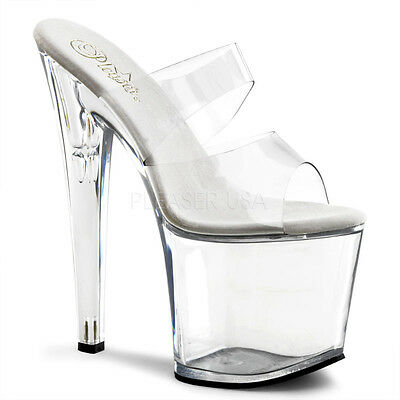 0a7fe87715f1 PLEASER Sexy Stripper Shoes Clear 2 Band Slip On Platform 7 1 2