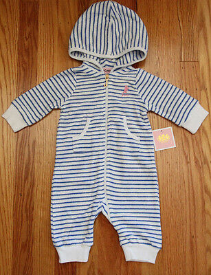 Juicy Couture Baby Girl Terry Hooded Non Footed Coverall ~ White & Blue Stripes~