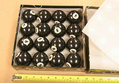 """8 new no. 8 balls """"eight"""" - for 1 price for pool & billiard tables - 2.25"""" dia."""