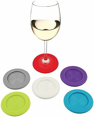 True Fabrications Grab & Go Slip-on Silicone Wine Glass Coasters / Drink Markers
