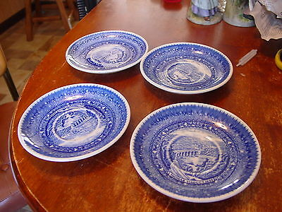 4 VINTAGE Flow Blue Baltimore and Ohio Railroad Scenic Plate Thomas Viaduct 1835