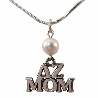 "Delta Zeta Sterling Silver ""Mom"" Letter Charm with White Pearl and Chain"
