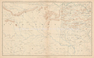 Texas Indian Territory Civil War Antique Map 1895 circa Original