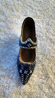 Miniature Shoe: Blue, Gold and Silver Victorian Style Heel