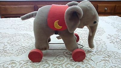 Vintage Mohair Elephant Hermann Pull Toy on Wheels Made in West Germany