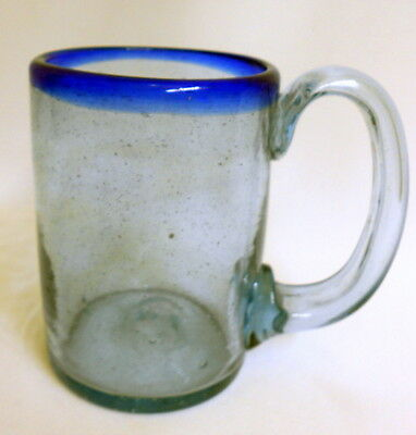 "Hand Blown Mexican Cobalt Blue Rim Glass Cup Mug with Handle 4 3/4"" H."